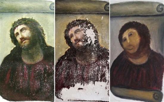 Čia yra vienas iš biurokratijos veidų. ispanų paveldosaugininkai vis neleido restauruoti yrančios freskos. Tai štai kas gavosi.