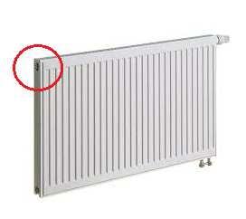 1 pav. Radiatoriaus viršuje, priešingoje nei termostatinis ventilis pusėje, yra radiatoriaus nuorinimo ventilis