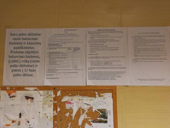 Balsavimo biuletenis ir aiškinamieji raštai.